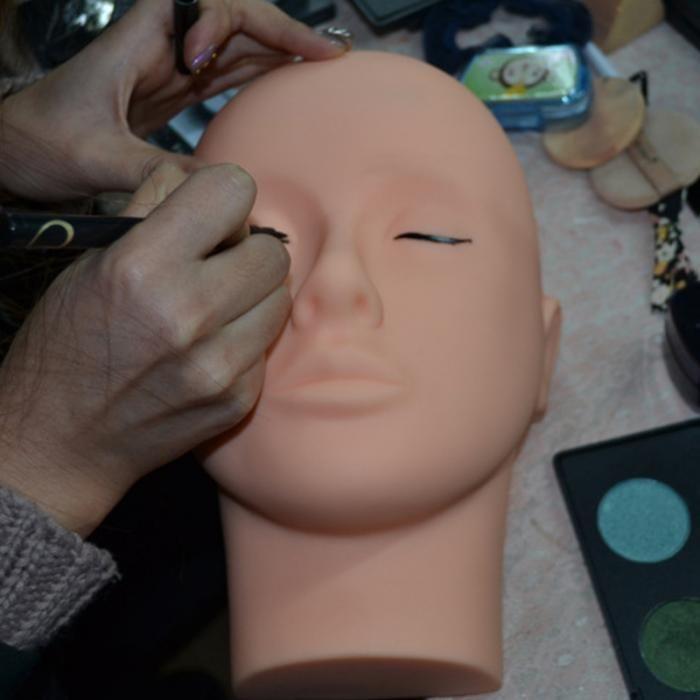 High Quality Mannequin Flat Head Silicone Practice False Eyelash Extensions Make Up Model Massage Training