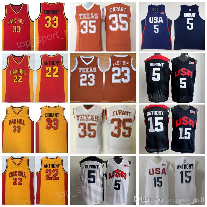 f631c9d2 2019 Texas Longhorns College Basketball Jersey Kevin Durant 35 Lamarcus  Aldridge Oak Hill High School 22 Syracuse Orange Carmelo Anthony Team From  ...