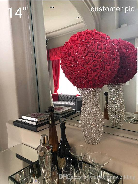 Artificial Rose Flower Balls with without Rhinestone Stimulation Foam Balls Wedding Room/Parties Decoration Road Lead Twelve Colors
