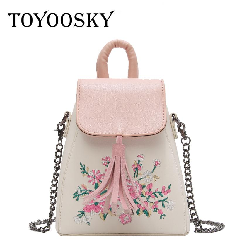 afa406ceba TOYOOSKY 2018 New Chic Shoulder Bag Women Flower Embroidery Handbag For  Women Pu Leather Messenger Bags Chain Bucket Bags Leather Briefcase  Wholesale ...