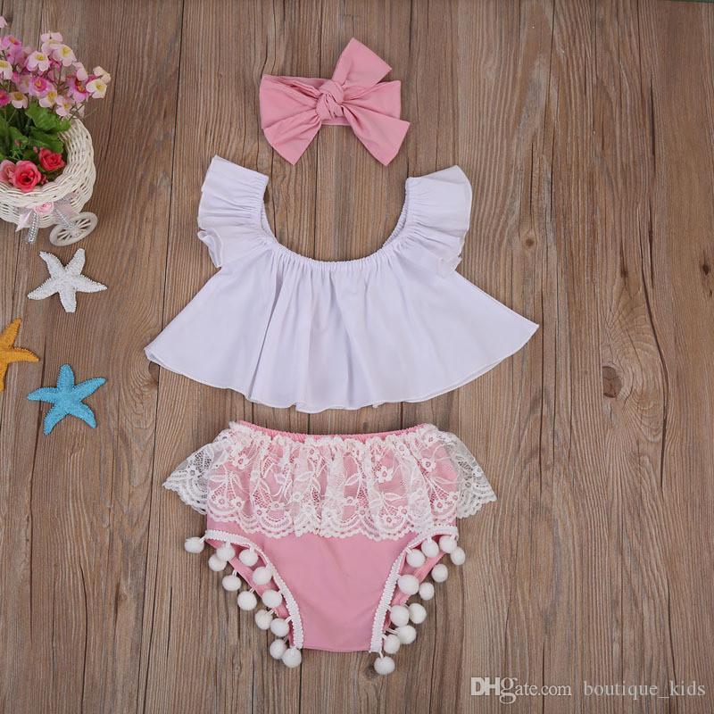 Ropa de bebé recién nacida Ropa de verano Ropa de bebé Blusas sin mangas + Shorts con borlas de encaje Parte inferior + Diadema Algodón para niños niñas pequeñas Conjunto de traje