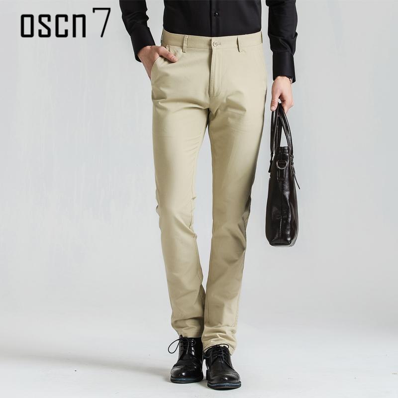 58319545f4e0 OSCN7 Solide Slim Fit Büro Hosen Männer Business 2017 Herren Kleid Hosen  Formale Plus Größe Stretch Freizeitanzug Pantalon Homme