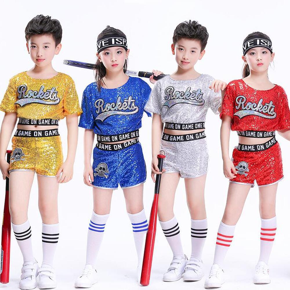 Compre Niños Salón De Baile Jazz Baile Moderno Tops + Pantalones Trajes De  Baile De Hip Hop Traje Niñas Niños Lentejuelas Cheerleading Equipo  Disfraces ... 0a95752ffc1