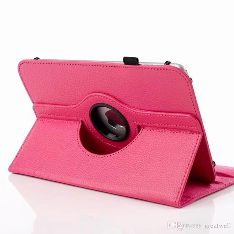 Universale 360 di cuoio girante dell'unità di elaborazione del basamento di vibrazione della copertura di caso 7 pollici 8 pollici 10 pollici tablet iPad Tablet Samsung