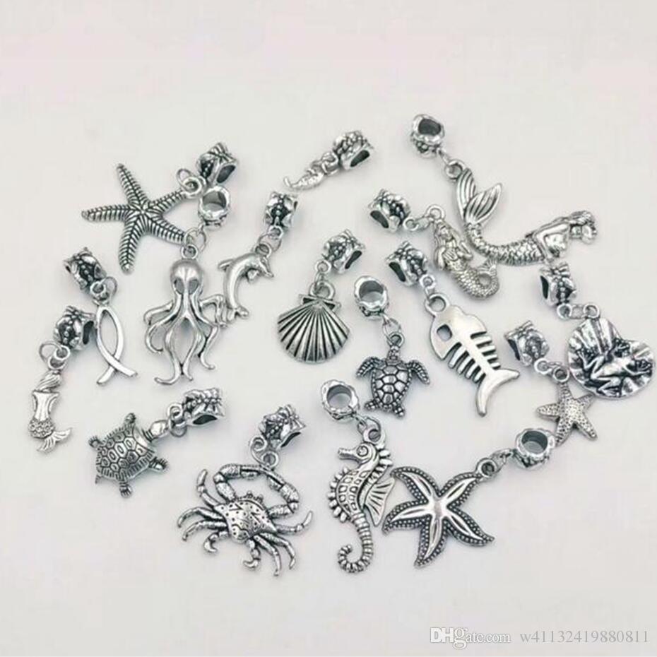 / Vintage étoile de mer argent / hippocampe / dauphin / poulpe / tortue / sirène / crabe mélange de charmes pendentifs collier bracelet bijoux-9