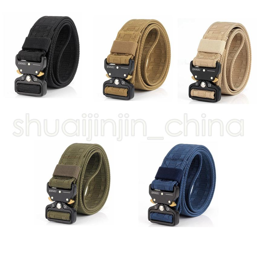 5 Colors Quick Release Buckle Belt Quick Dry Outdoor Safety Belt Training Pure Duty Out Tactical Belt Outdoor Gadgets GGA493 20PCS