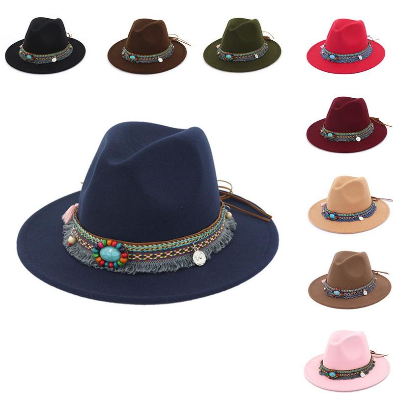 cbc1afd2ac0 Nibesser Vintage Women S Beach Sun Hat Women S Bohemia Jazz Caps Hats With  Wide Brim Fashion Female Fedoras Lady Sun Hat Stetson Hats Cowboy Hats From  ...