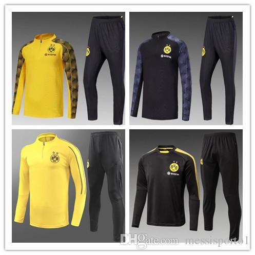 new styles fae0e a27a4 2018/19 Borussia Dortmund tracksuit Jacket Set Men Kit long sleeve Training  suit pants football Borussia Aubameyang Reus clothes sports wear