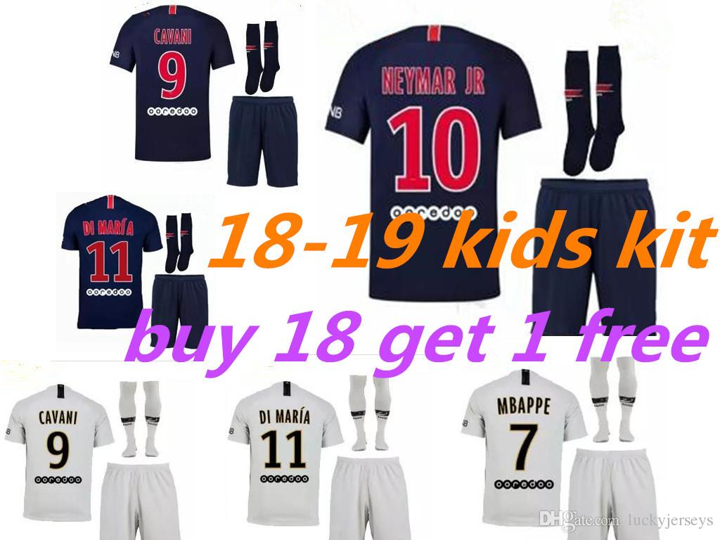 f995192b8 Kids Kit 18 19 Psg Soccer Jersey Home Away 2018 2019 Mbappe DI MARIA ...