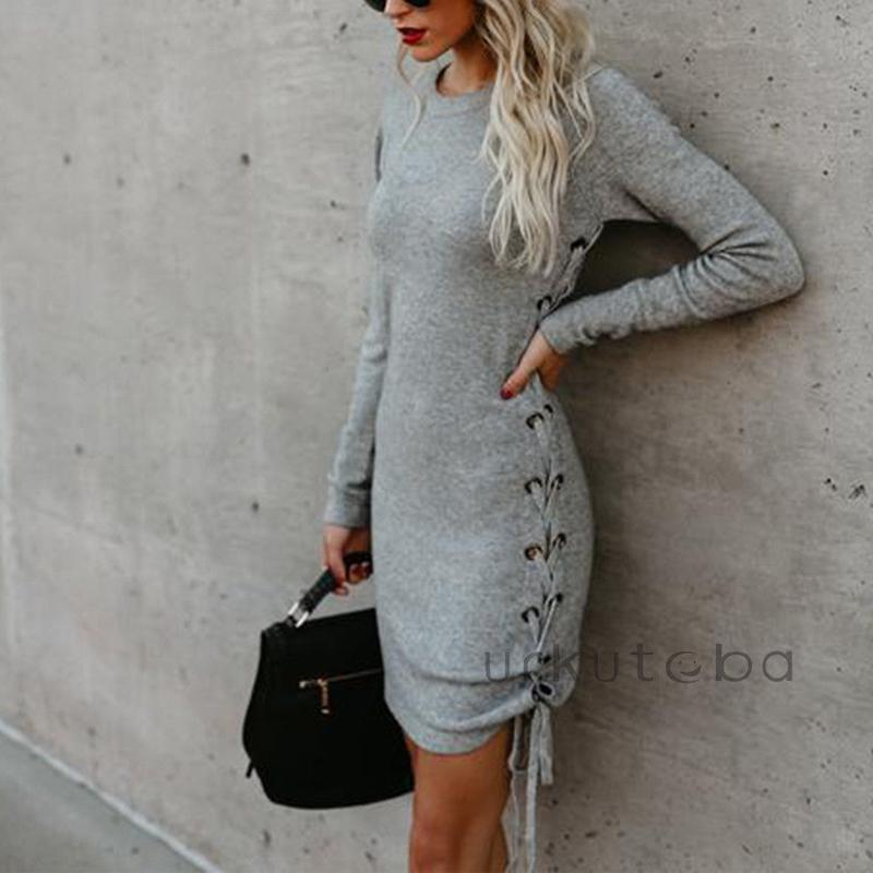 2019 Fashion Women Long Sleeve Dress Holiday Collar Knit Party Ladies Mini Party Dresses Autumn Sweatershirt Dec7 Dresses