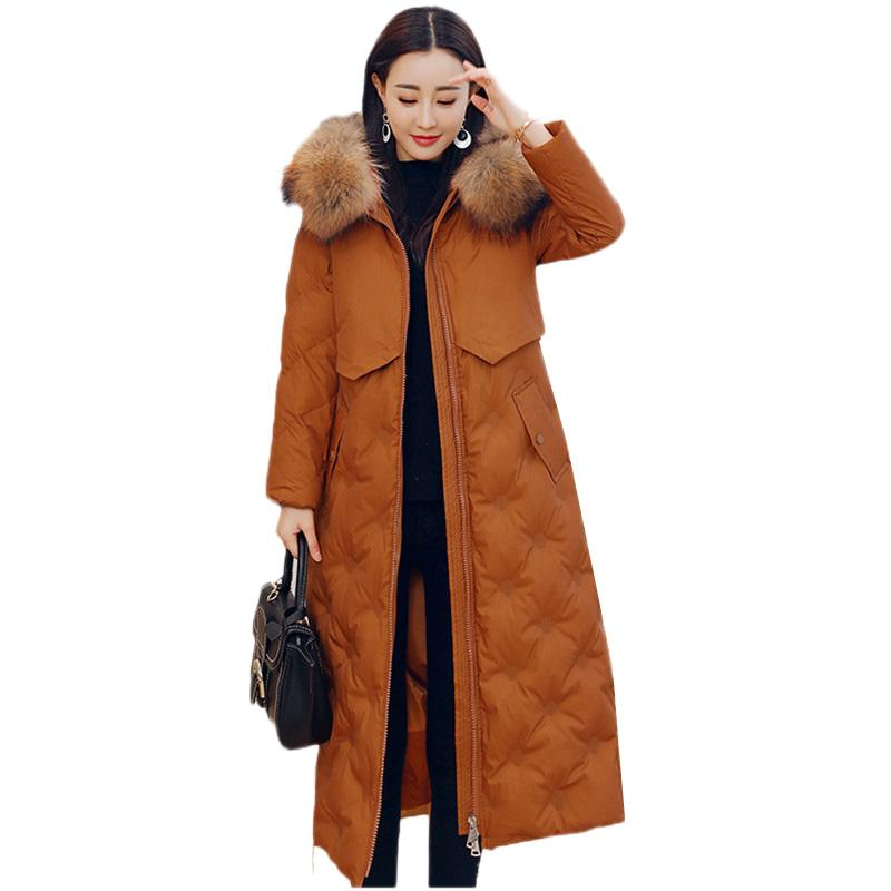 de027c44e Women Down Jacket 2018 Winter Large size High quality Hooded Coat Mid Long  Thicken Warm Jacket Women White Duck Down Coat DT0428