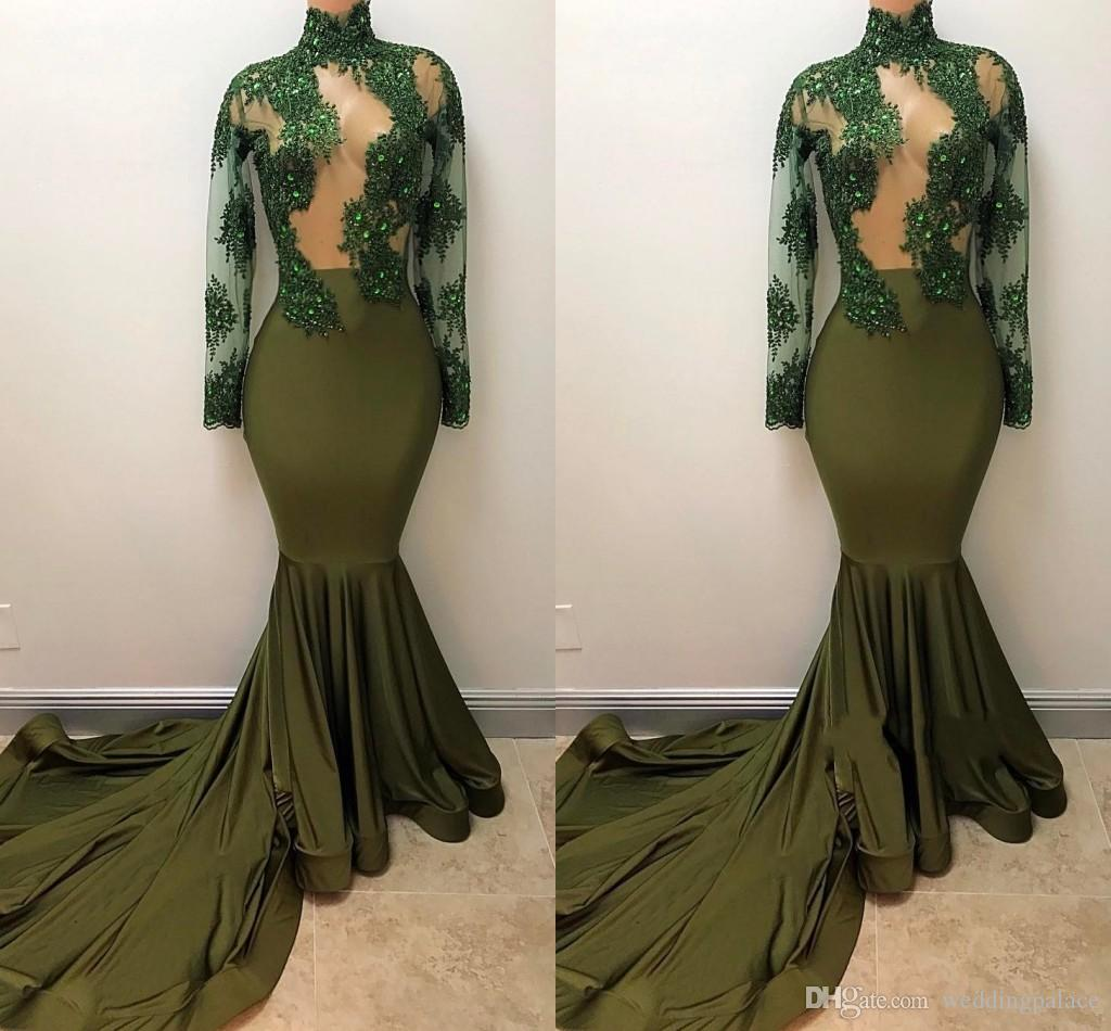 Charming High Neck Mermaid Evening Dresses Long Sleeve Beaded Formal Evening Gowns Prom Dresses Special Occasion Dresses