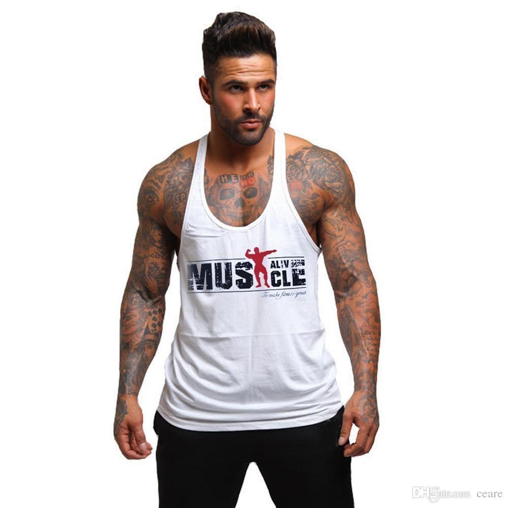 96ea045fe51c2 Acheter Vente En Gros Muscle Alive Tank Top Fitness Hommes Bodybuilding  Shirt Sans Manches GASP Stringer Gyms Vêtements Racerback Undershirt Gilet  Gymnases ...