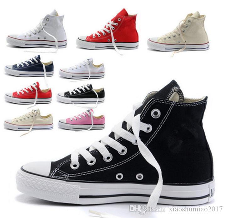 Blanc (WHT Red) Chaussures Hommes Femmes toile chaussures de sport Haut Bas  Noir 4a391061eb5