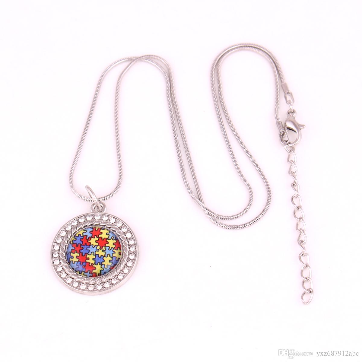Drop Shipping Autism Hope Jewelry Crystal puzzle Piece Round Pendant with Snake Chain necklace Autism Awareness Jewelry
