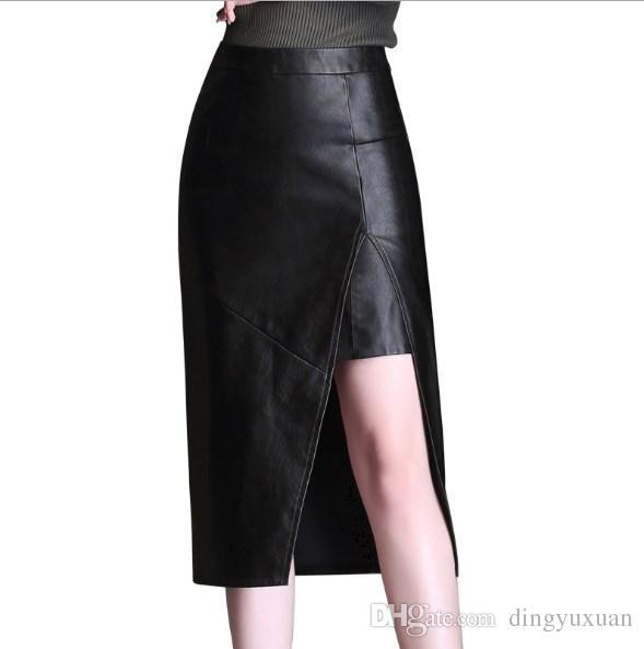 e1fd2daca0e 2018 High Waist Bodycon Winter Skirt Women Sexy Split PU Leather ...
