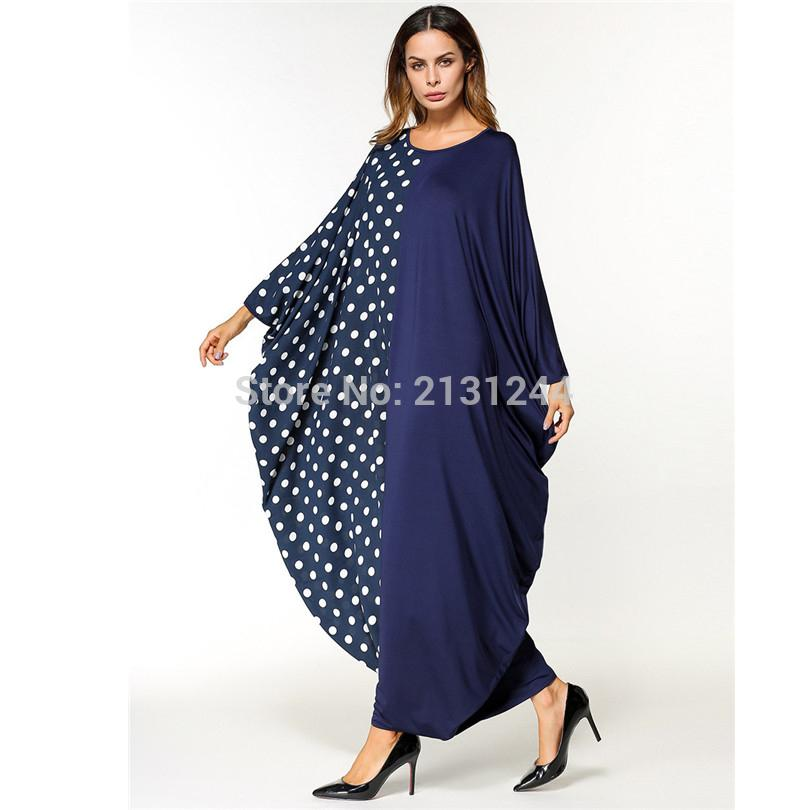 0321883a8cc Muslim Maxi Dress Dot Abaya Bat Sleeve Vintage Robe Kimono Long Robes Jubah  Moroccan Middle East Arab Islamic Clothing Long Dress Women Long Sleeve  Short ...