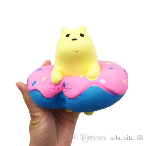 Polar Bear Doughnut Squishy Cute 15cm Jumbo Slow Rising Phone Straps Cartoon Cream Scented Bread Kid Fun Toy Gift