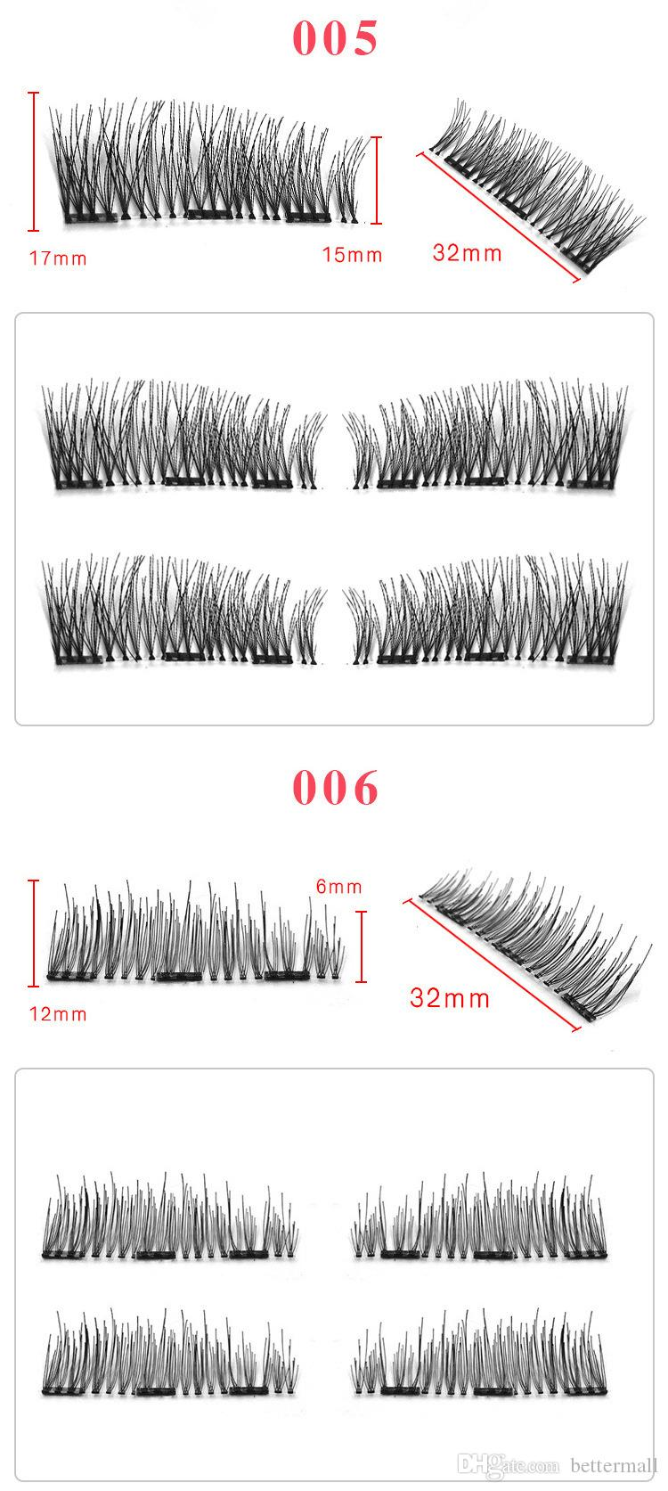 Professional Hand Made 3 Magnetic Lashes Full Strip Natural Long