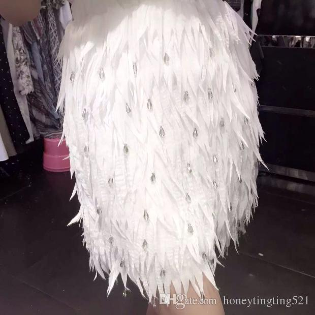 e3088bf5bd Luxury New Design Women's High Elastic Waist Feather Shape Chiffon ...