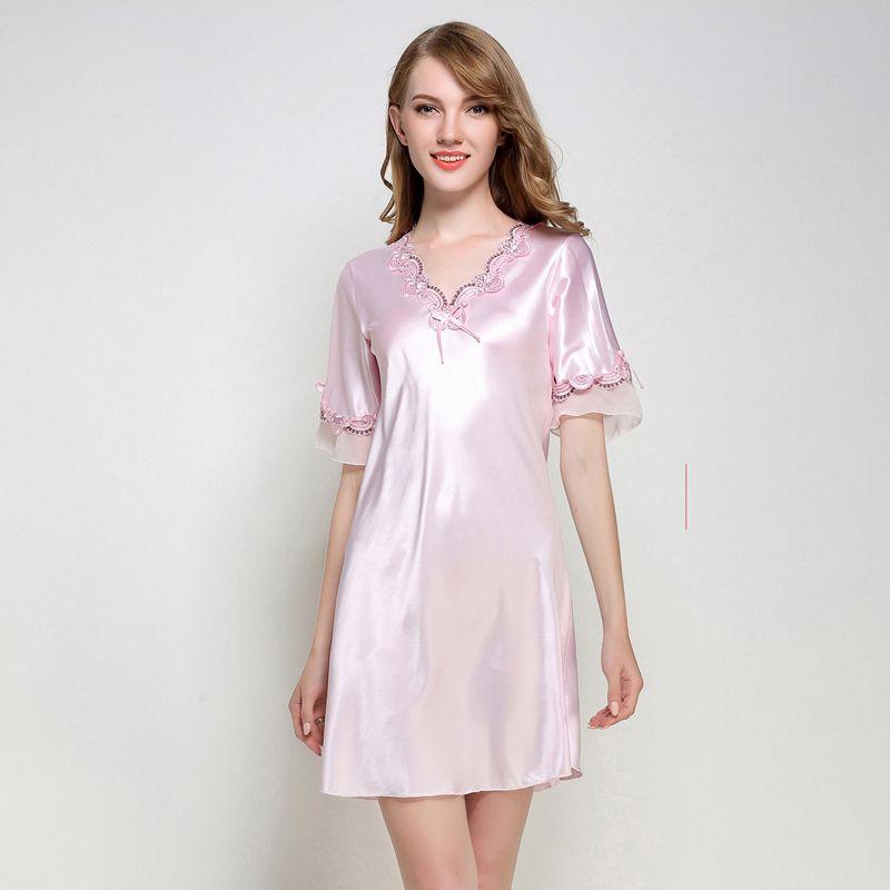 2f4cca75fa 2019 Ladies Sexy Silk Satin Night Dress Half Sleeve Nighties V Neck  Nightgown Nightdress Lace Sleepwear Fashion Nightwear For Women From  Westlakestore