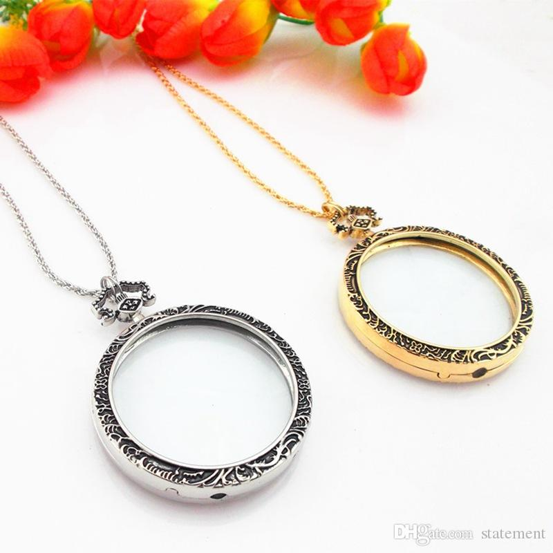 Vintage 6x Magnifier Magnifying Glass Pendant Necklace Ancient Silver Magnify Glass Reeding Decorative Long Necklace For Grandma Gift