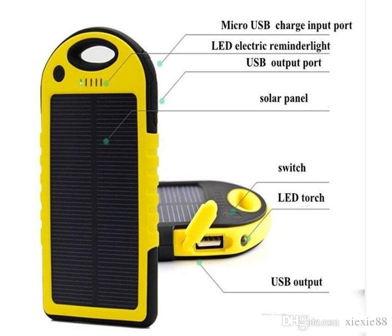 Universal 5000mAh Solar Charger Waterproof Solar Panel Battery Chargers for Smart Phone iphone7 Tablets Camera Mobile Power Bank Dual USB