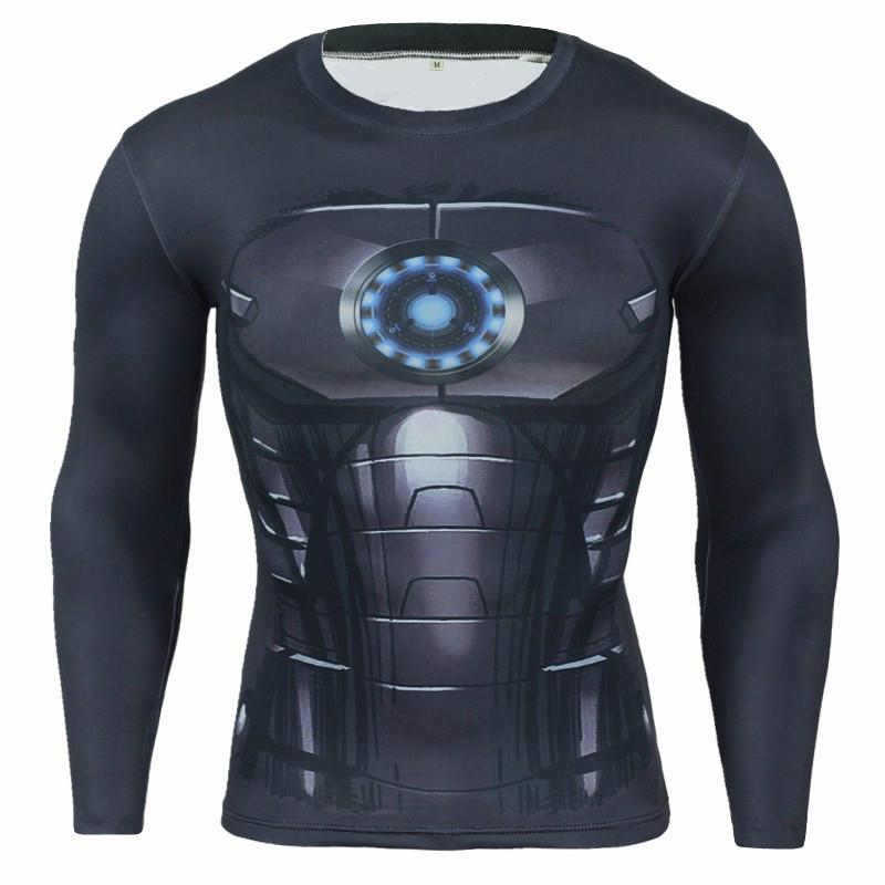 Mens Fitness 3D Prints Long Sleeves T Shirt Men Bodybuilding Skin Tight Thermal Compression Shirts MMA Crossfit Workout Top Gear C03