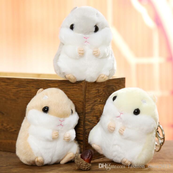10CM Mini Hamster Pom Pom Toy Women Fluffy Bunny Hamster Toy Doll Bag Car Key Ring Keychain Jewelry Gift