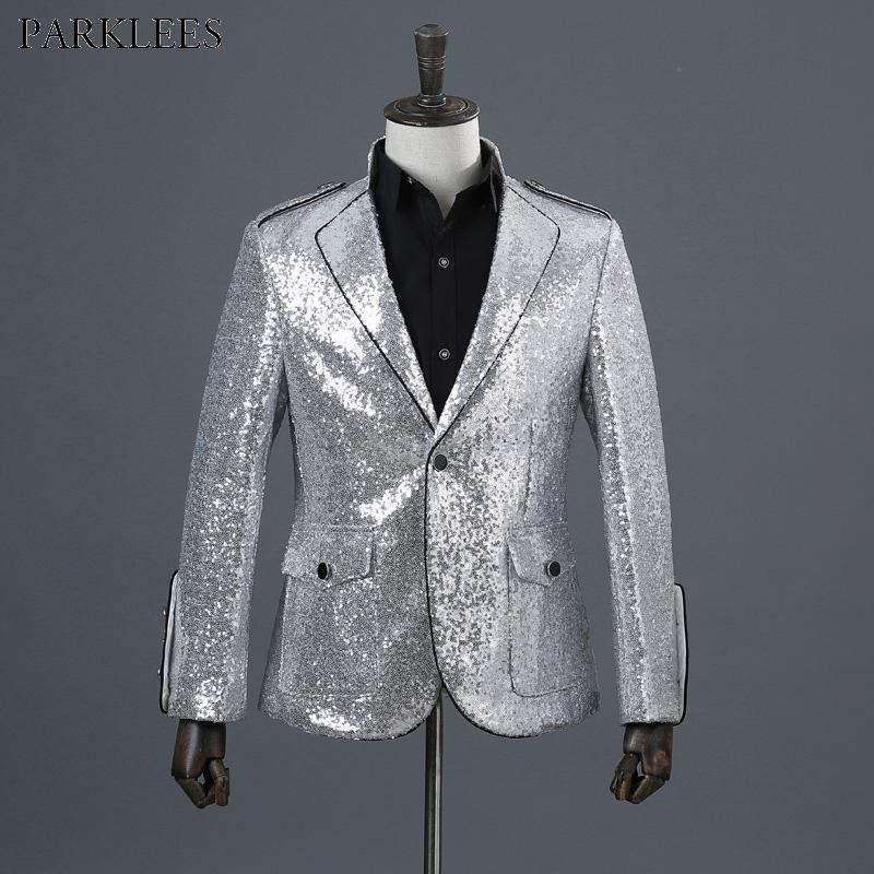 2019 Sliver Sequins Shiny Party DJ Singer Stage Show Suit Jacket Men 2018  Fashion Nightclub Single Breasted One Button Blazer Hombre From Honey333 160cd44abba2