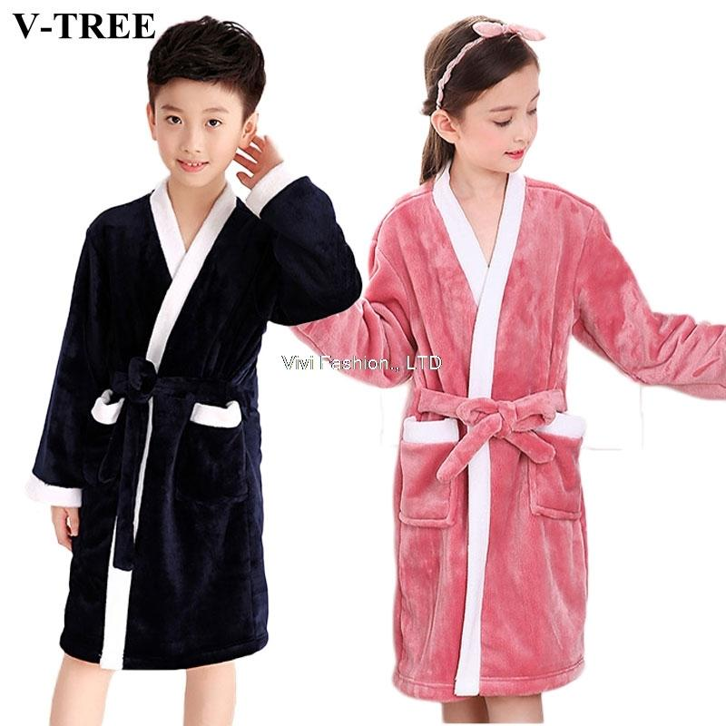 4f47794dcaaf Winter Kids Bathrobe Fleece Robes For Boys Solid Girls Pajamas Warm ...