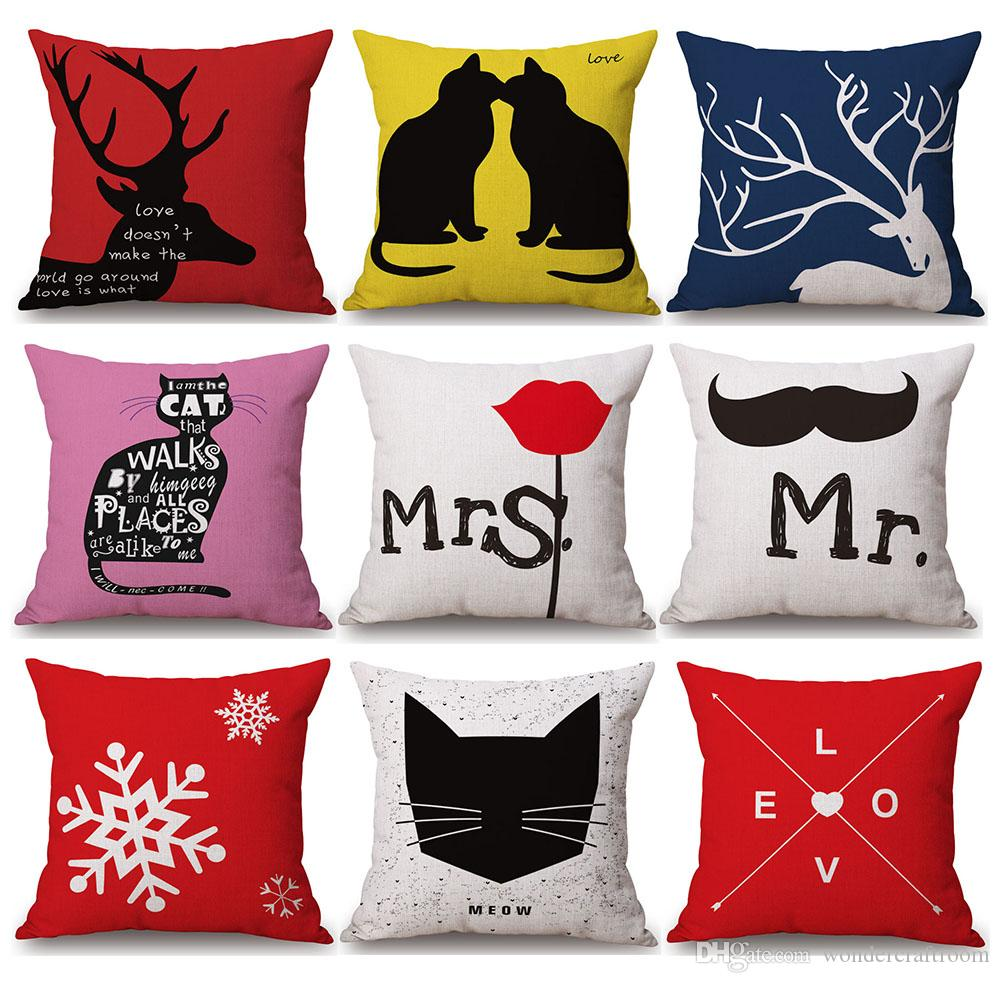 Nordic Cartoon Animal Bear Deer Cat Cushion Covers Mr. Mrs. Mustache Rose Cushion Cover Sofa Linen Cotton Pillow Case
