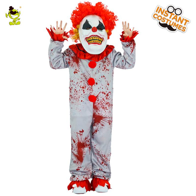 Boys Evil Clown Costumes Halloween Masquerade Party Bloody Buffon Role Play Outfit  Children Grim Killer Disguise Party Sets Halloween Costumes For 3 People ...
