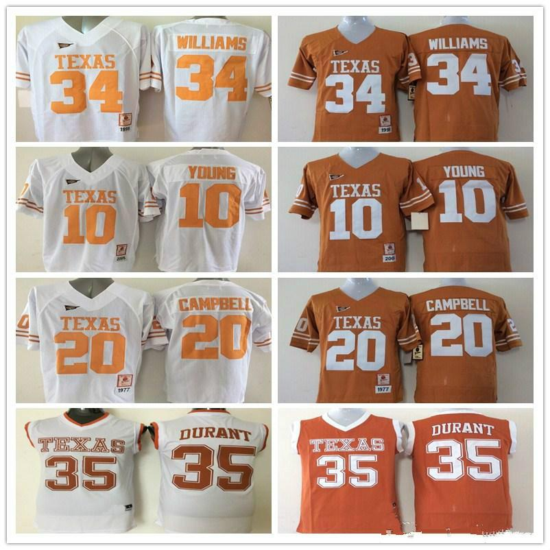 best sneakers 56179 0fdca 10 Vince YOUNG 12 Colt McCoy 34 Connor Williams 35 Kevin Durant jerseys 20  Earl Campbell College Texas Longhorns football sport men shirt