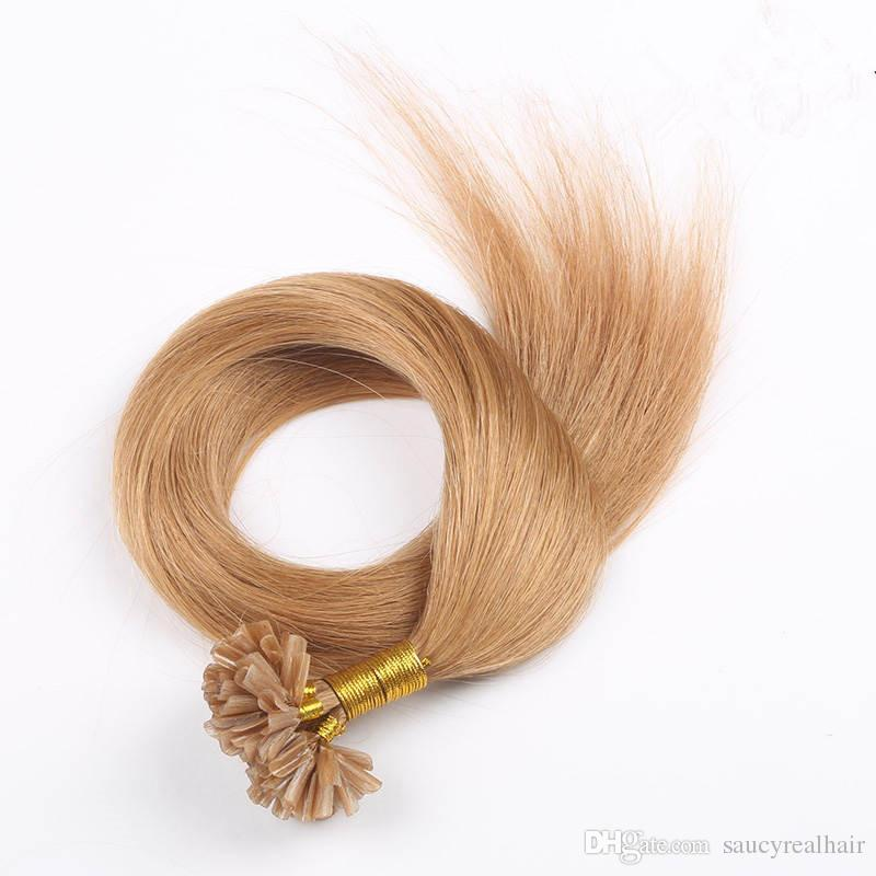 "Elibess Grade 8A Brazilian Remy U tip hair Extensios Nail Tip virgin hair extensions 16""-22"" Blonde Color 613#,"