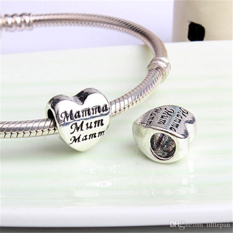 Fashion Charms Jewelry Findings And Components To Mum Alloy Loose Bead For Pandora Bracelet Bangle European Style