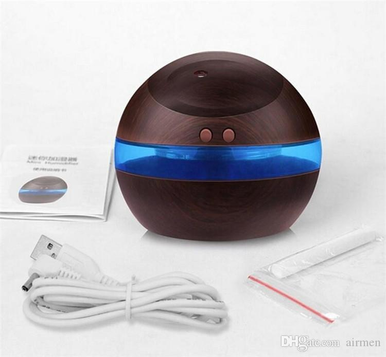 Wholesale 300ml USB Ultrasonic Humidifier Aroma Diffuser Essential Oil Diffuser Aromatherapy mist maker with Blue LED Light