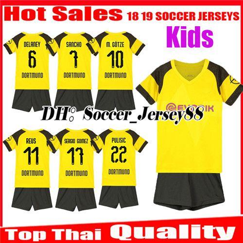 4e42af2f6 2019 Kids 2018 2019 REUS Kits Soccer Jerseys SANCHO Home 18 19 BATSHUAYI  PHILIPP KAGAWA AUBAMEYANG Children Kit Uniforms Child Football Shirts From  ...