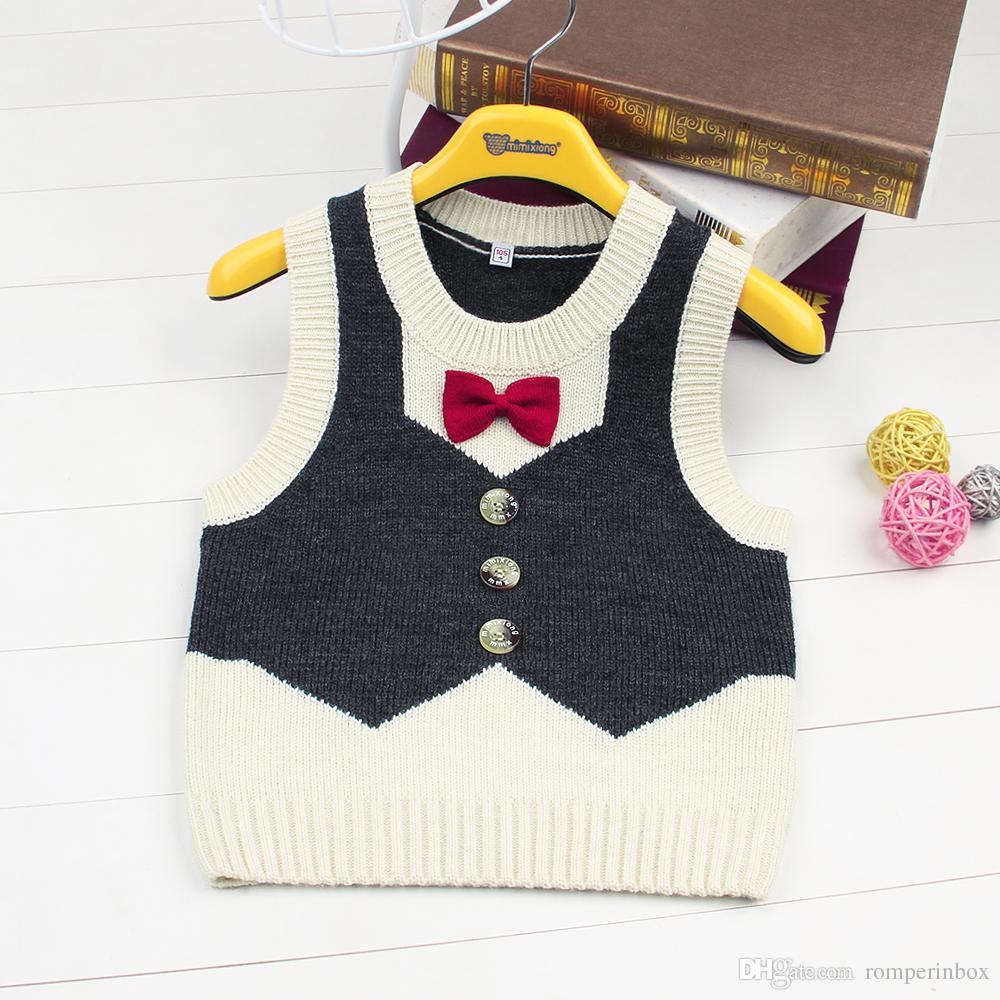 e27f26237 Baby Boys Sweater Vest Sleeveless Red Black Kids School Uniform ...