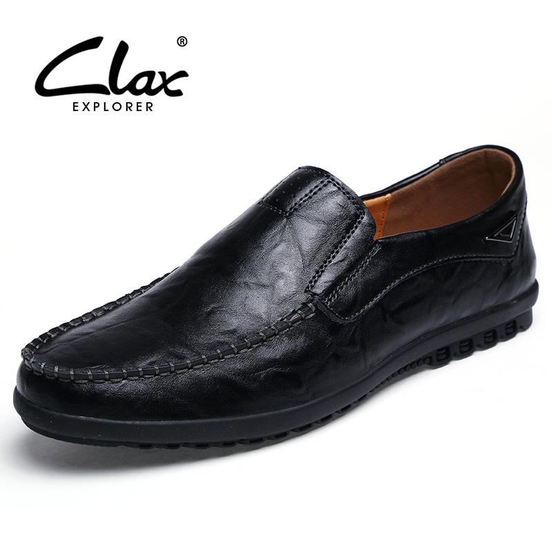 Clax Men S Leather Dress Shoes Slip On 2018 Spring Summer Male Black Formal Shoe  Flats Loafers Vintage Moccasin Soft Loafers For Women Deck Shoes From ... 16c5e55739e3