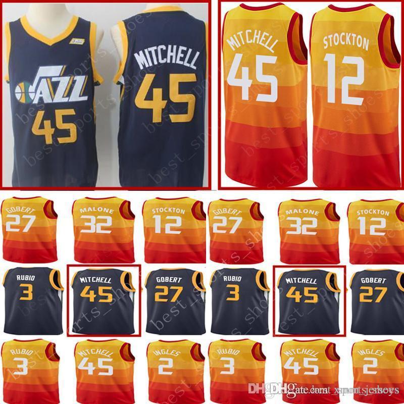2018 New 45 Donovan Mitchell 3 Ricky Rubio Jersey Men S Utah Jazz 2 Joe  Ingles 27 Rudy Gobert 12 John Stockton Stitched Basketball Jerseys From  Xmm jerseys a149d1ab3