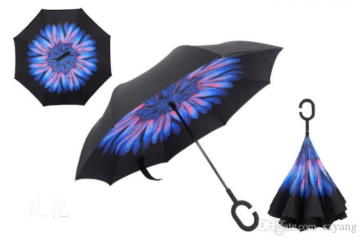 Metal Windproof Reverse Folding Double Layer Inverted Chuva Umbrella Self Stand Inside Out Rain Protection C-Hook Hands For Car SN1036