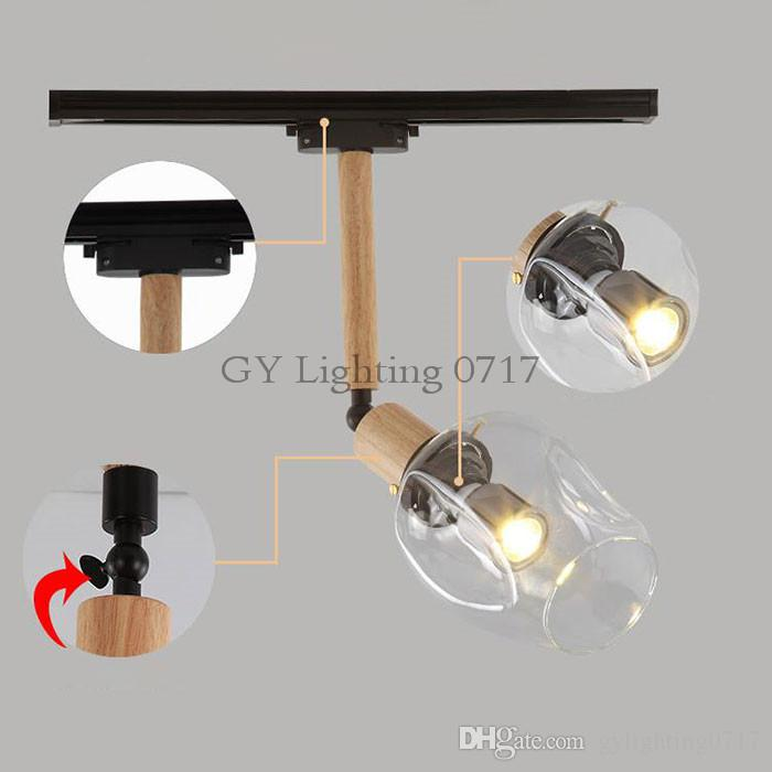 Industrial Vintage LOFT led spotlights Art track lighting wood rod glass lampshade leds ceiling rail lighting fixture