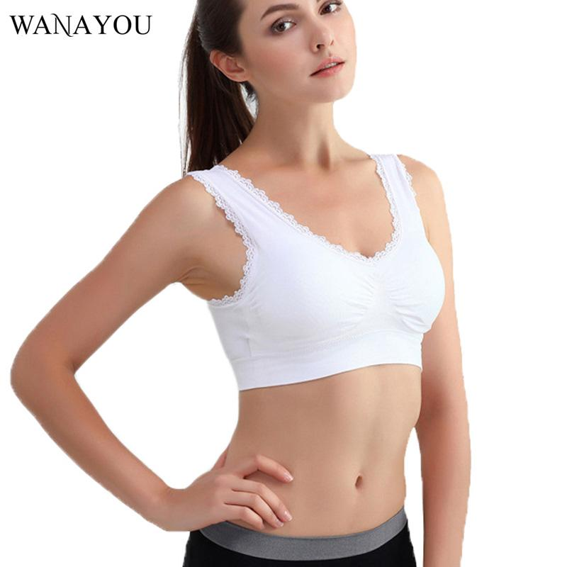 f1ce127efef55 2019 WANAYOU Women Lace Sports Bras,M 3XL Plus Size Breathable Push Up  Fitness Underwear Gym Yoga Vest Short Tops From Wudun, $25.06 | DHgate.Com