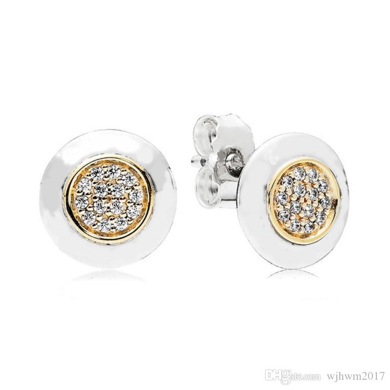New Authentic 925 Sterling Silver Pave Crystal Gold Plating Brand Logo Earrings Studs For Women Wedding Party Pandora Jewelry Earring