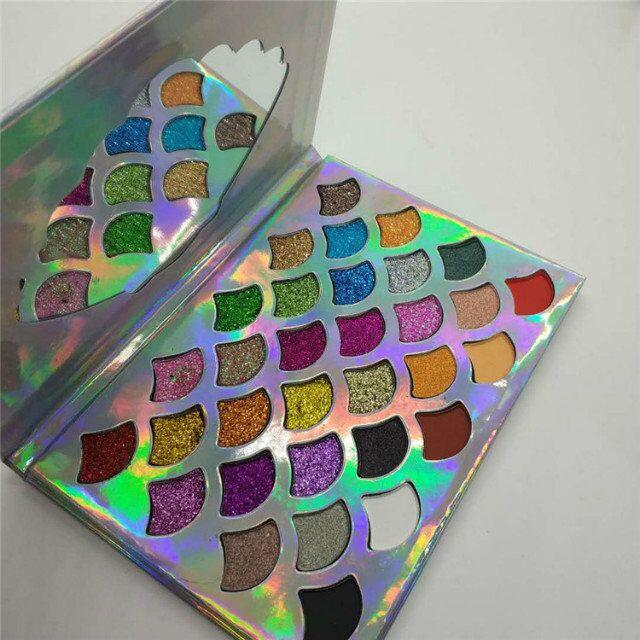 2018 Cleof Cosmetics The Mermaid Glitter Prism Palette 32 colors easy to wear and long-lasting DHL fast free shipping