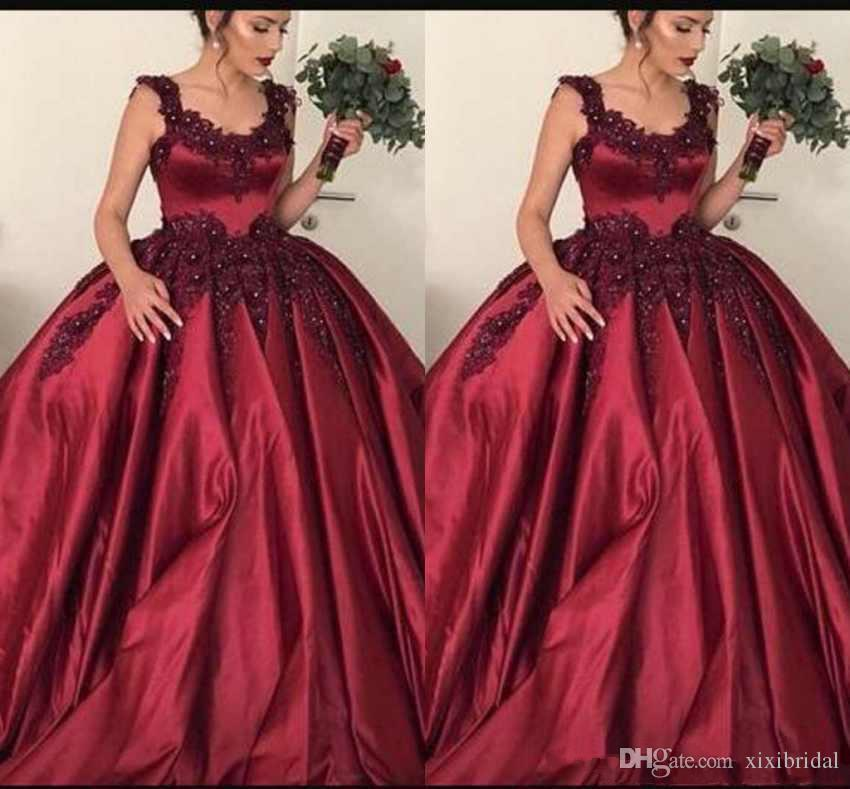 02fbe48623 Luxury Burgundy Scoop Neck Prom Dresses Lace Appliques Beaded Sweet 16  Formal Ball Gowns Evening Party Gowns Quinceanera Dress Buy Prom Dresses  Online ...