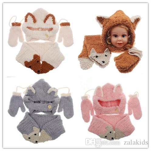 36adf296fdf 2019 Kawaii Fox Ear Baby Knitted Hats With Scarf Gloves Set Plus Velvet  Winter Windproof Kids Boys Girls Warm Shapka Caps From Zalakids