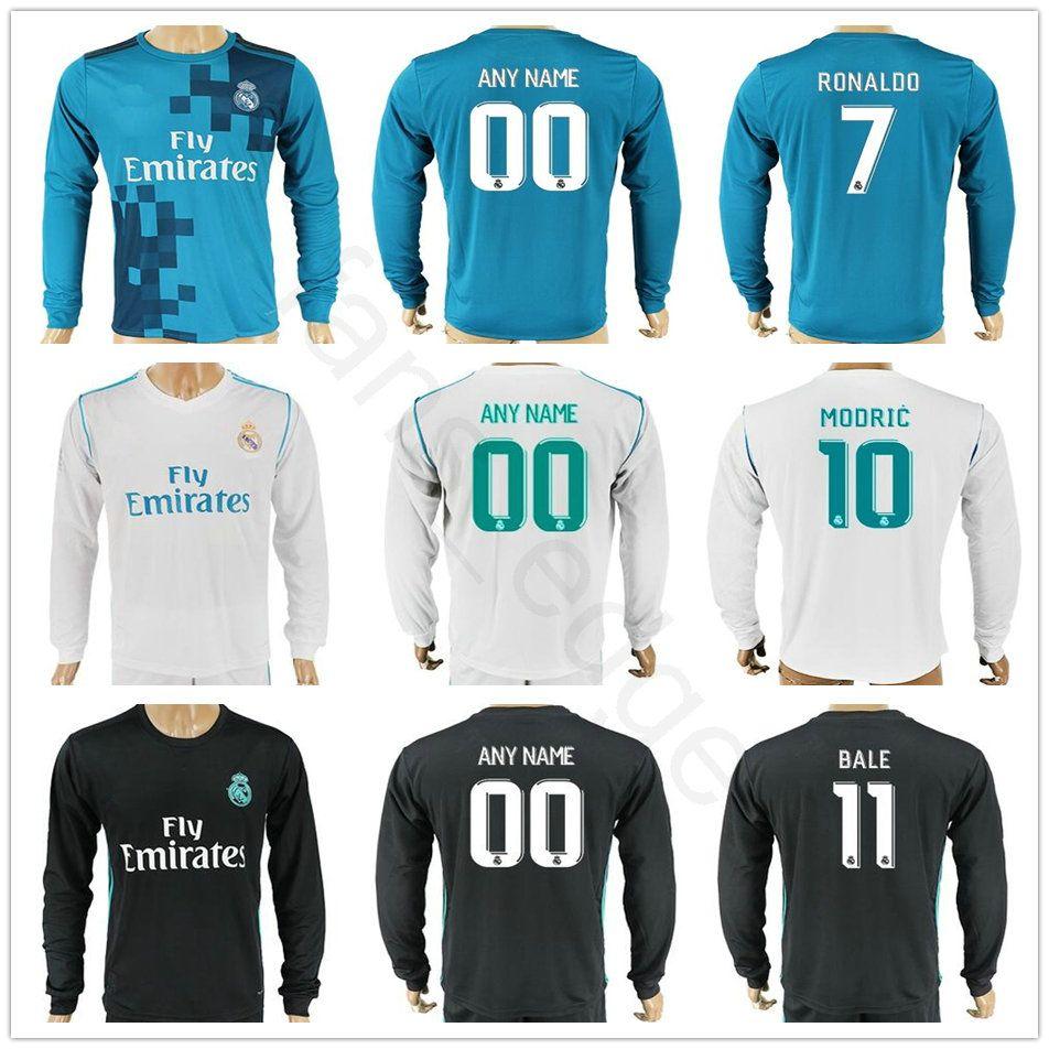 17 18 19 Real Madrid Camiseta De Fútbol De Manga Larga Camiseta Ramos  Ronaldo Kroos Benzema Bale Modric Marcelo Morata Isco Asensio Camisetas De  Fútbol Por ... ee36a9498654d