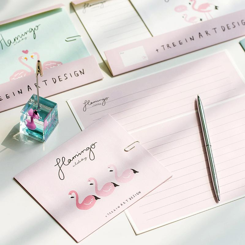 2018 3 Envelopes 6 Letter Paper Set Flamingo Letter Pad Wedding Gift